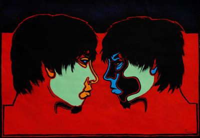 """Abbildung von """"Doppelportrait Norman"""", Malerei. Das Acryl-Gemaelde zeigt zwei Profilansichten eines Gesichts. Mehr siehe http://zuckerwein.com/"""