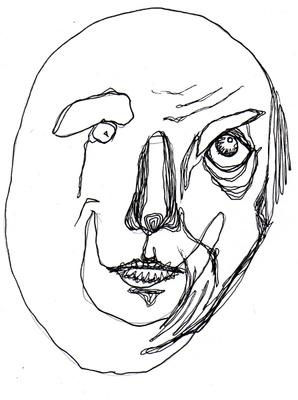 """Abbildung von """"Das Alter"""", Zeichnung in Fineliner. Die Zeichnung zeigt eine durch Linien dominierte Darstellung eines alten Gesichts. Mehr siehe http://zuckerwein.com/"""