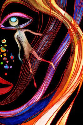"""Abbildung von """"Berlin"""", Malerei in Aquarell und Acryl, gezeigt in der Gasteig Ausstellung 2012. Das Gemälde illustriert ein stilisiertes halbes Gesicht einer Frau, mit dem Auge als eigenständiges Wesen, in bunten Linien. Mehr siehe http://zuckerwein.com/"""
