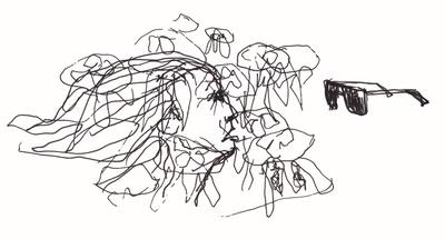 """Abbildung von """"Verwirrung"""", Zeichnung in Tinte. Die Zeichnung zeigt ein schemenhaftes Gesicht von der Seite, welches sich aus chaotischen Linien heraus entwickelt. Dem Gesicht gegenueber befindet sich eine Sonnenbrille. Mehr siehe http://zuckerwein.com/"""