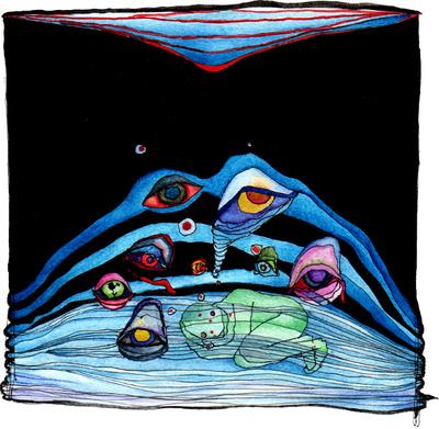 """Abbildung kleines Aquarellgemaelde """"Aufmerksamkeit, unerwacht"""". Das Gemaelde zeigt eine unter blauen Linien liegende Person und darueber schwebende Augen auf schwarzem Hintergrund. Mehr siehe http://zuckerwein.com/"""