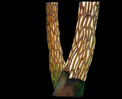 """Abbildung von """"Berliner Kiefern"""", Aquarell/Acryl-Malerei. Das Gemaelde zeigt Baeume auf schwarzem Grund, wobei sich das Motiv auf Stamm und Rinde beschraenkt. Mehr siehe http://zuckerwein.com/"""