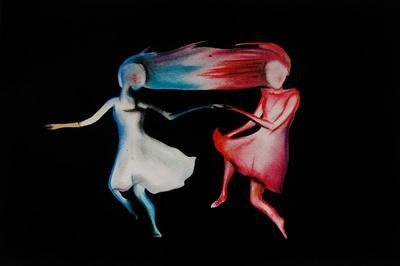 """Abbildung von """"Die Taenzer"""", Malerei in Pastell und Acryl. Das Gemaelde zeigt zwei tanzende Maedchen auf schwarz. Mehr siehe http://zuckerwein.com/"""