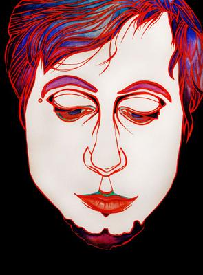 """Abbildung von Portrait """"Norman"""", Malerei in Aquarell, Acryl. Das Gemaelde zeigt ein männliches Gesicht. Mehr siehe http://zuckerwein.com/"""